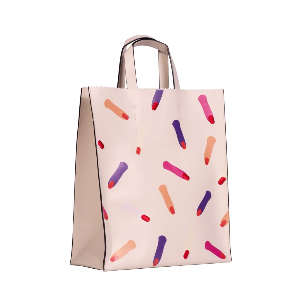 christine borsa shopping in pelle bianca con stampa scaled
