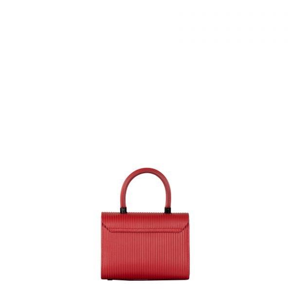 angie borsa a mano in pelle con trama a rilievo rossa piccola retro
