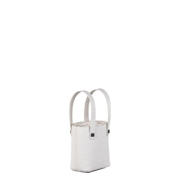 leila borsa a mano in pelle con stampa struzzo bianca piccola laterale