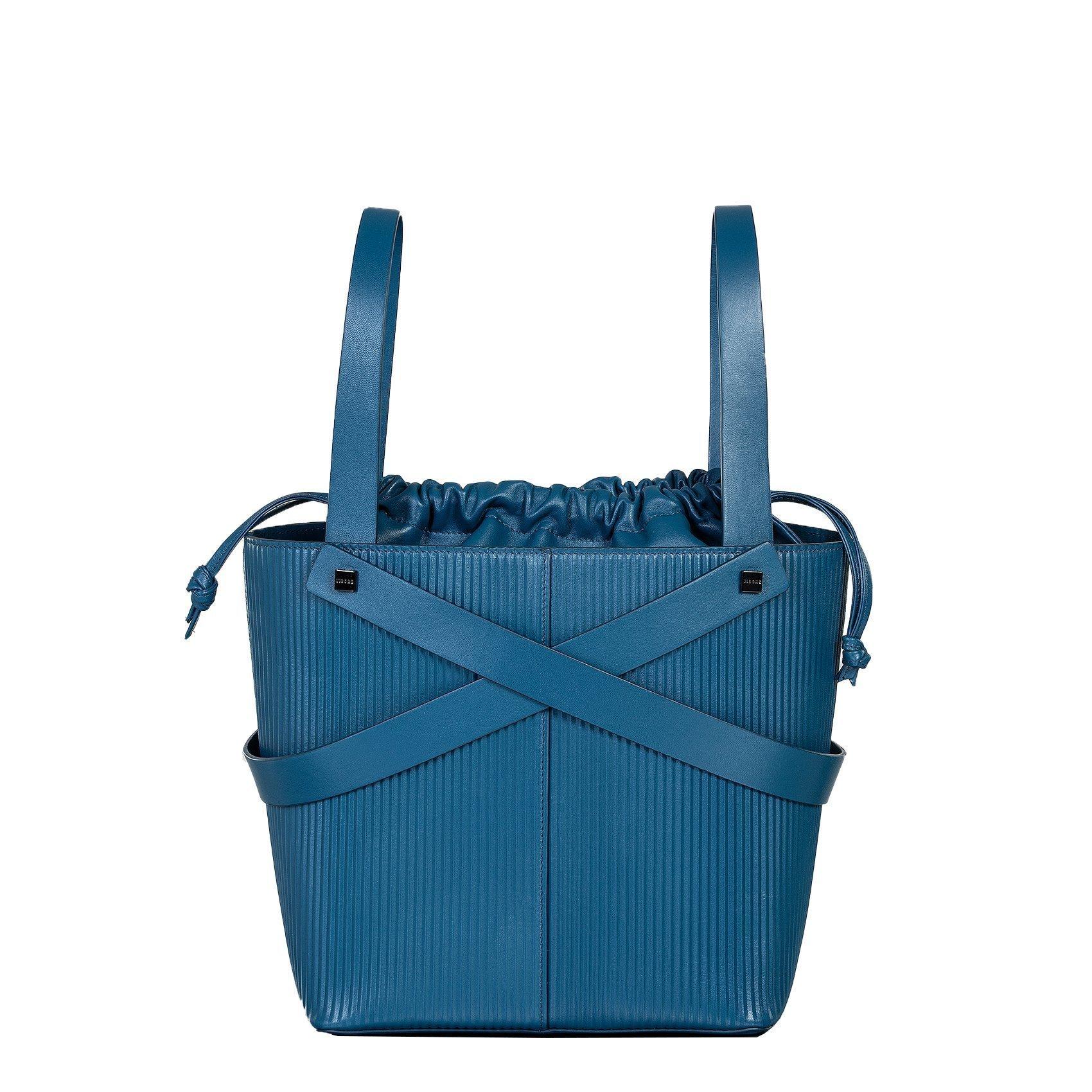 leila borsa a mano in pelle con trama a rilievo blu grande fronte