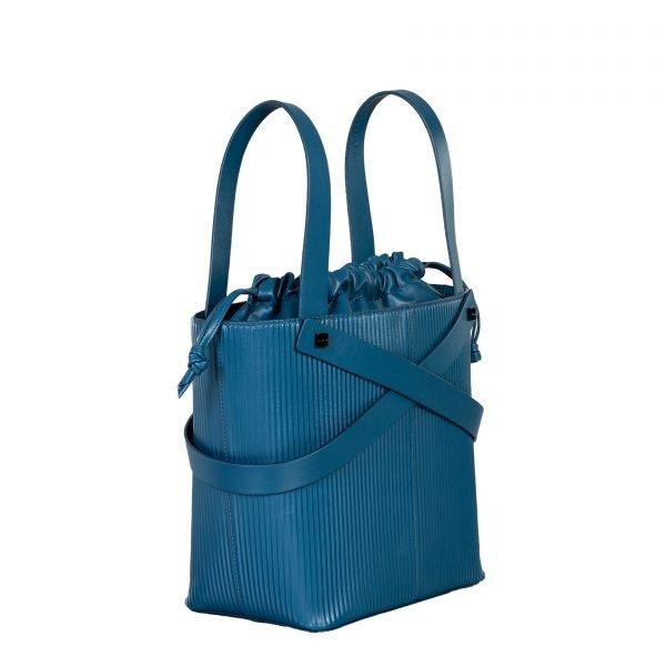 leila borsa a mano in pelle con trama a rilievo blu grande laterale