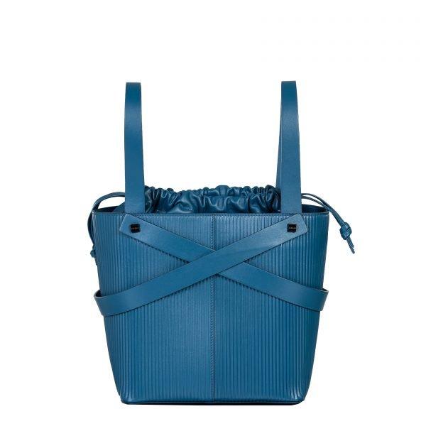 leila borsa a mano in pelle con trama a rilievo blu grande retro