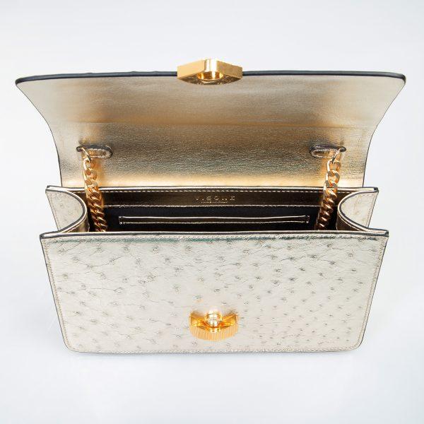 lizzy borsa a tracolla in pelle con stampa struzzo oro grande dettaglio