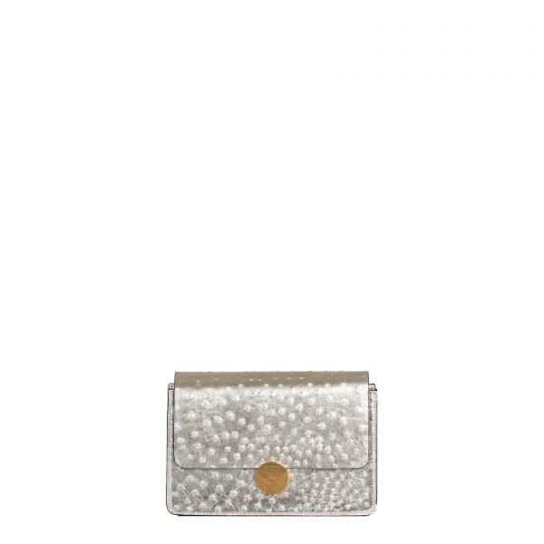lizzy borsa a tracolla in pelle con stampa struzzo oro grande fronte