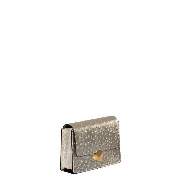 lizzy borsa a tracolla in pelle con stampa struzzo oro grande laterale