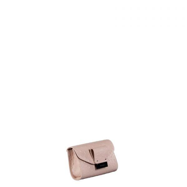 mila borsa a spalla in pelle con stampa struzzo nude piccola laterale