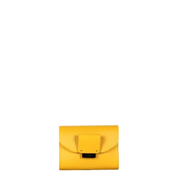 mila borsa a spalla in pelle con trama a rilievo yellow grande fronte